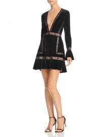 Saylor Lace-Trimmed Velvet Mini Dress at Bloomingdales