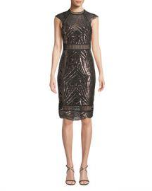 Saylor Heloise Sequin Open-Back Dress at Neiman Marcus