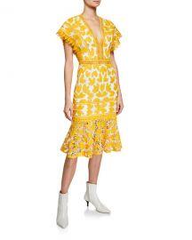 Saylor Mustard Lace V-Neck Midi Dress at Neiman Marcus