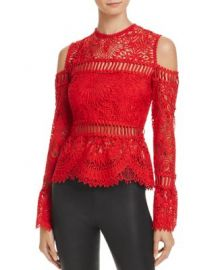 Saylor Sistine Embroidered Lace Cold-Shoulder Top at Bloomingdales
