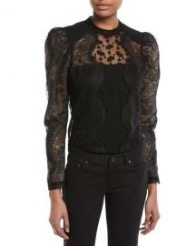 Scalloped Floral Lace Puff-Sleeve Top self portrait at Neiman Marcus