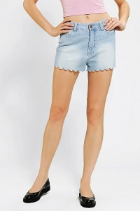 Scalloped denim shorts at Urban Outfitters