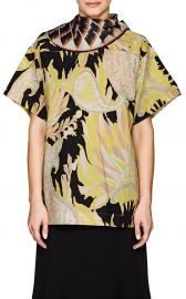 Scarf-Neck Abstract-Print Cotton Poplin Blouse by Dries Van Noten at Barneys