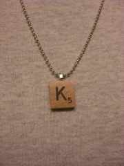 Scrabble Letter Necklace at Etsy