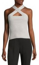 Scripted - Metallic Crossover Rib-Knit Top silver at Saks Fifth Avenue