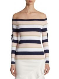 Scripted - Lace-Up Striped Off-The-Shoulder Sweater at Saks Off 5th