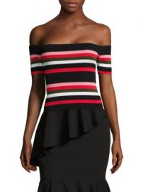 Scripted - Off-The-Shoulder Striped Rib-Knit Top at Saks Fifth Avenue