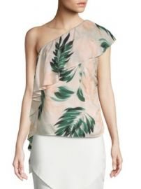 Scripted - Palm-Print One Shoulder Ruffle Top at Saks Off 5th