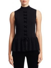 Scripted - Sleeveless Lace-Up Peplum Sweater at Saks Fifth Avenue