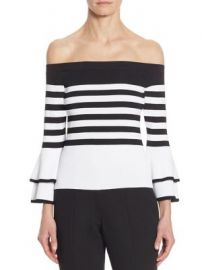 Scripted - Striped Off-The-Shoulder Bell Sleeve Sweater at Saks Fifth Avenue