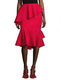 Scripted - Tiered Ruffle Midi Skirt red at Saks Fifth Avenue