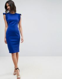 Scuba Midi Pencil Dress With Frill Sleeve by ASOS at ASOS