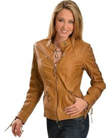Scully Leather Laced Sleeve Jacket at Amazon