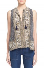 Sea  Sabine  Scarf Print Sleeveless Silk Top at Nordstrom