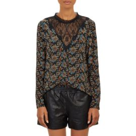 Sea Brocade-Print Lace Top at Barneys
