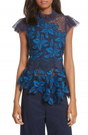 Sea Mosaic Lace Peplum Top at Nordstrom