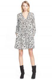 Sea Tie Neck Daisy Print Silk Dress at Nordstrom