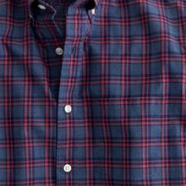 Secret Wash shirt in heather navy check in blue at J. Crew