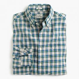 Secret Wash shirt in heather poplin plaid in Oatmeal at J. Crew