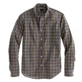Secret wash shirt in heather navy check at J. Crew