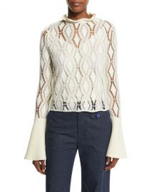 See by Chloe Bell-Sleeve Crochet Top at Neiman Marcus