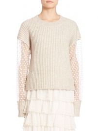 See by Chlo  - Lace Ribbed Pullover at Saks Fifth Avenue