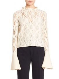 See by Chlo  - Laser-Cut Cotton Blend Bell Top at Saks Fifth Avenue