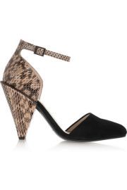 See by Chlo  Suede and snake-effect leather pumps at Net A Porter
