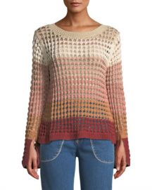 See by Chloe Crewneck Multicolor Open-Knit Sweater at Neiman Marcus