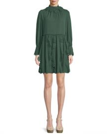 See by Chloe Floral Lace Puff-Sleeve Midi Dress at Neiman Marcus