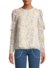 See by Chloe Floral Ruffle-Sleeve Crewneck Blouse at Neiman Marcus