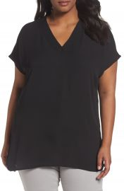 Sejour Short Sleeve V-Neck Tunic Top  Plus Size at Nordstrom