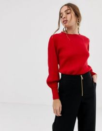 Selected balloon sleeve knitted sweater at asos com at Asos