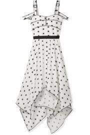 Self-Portrait   Asymmetric cutout printed satin midi dress at Net A Porter