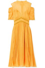 429b4583e4edd Self-Portrait Cold-shoulder pleated chiffon midi dress at Net A Porter