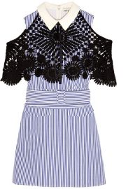 Self-Portrait   Guipure lace-paneled striped cotton-poplin mini dress at Net A Porter