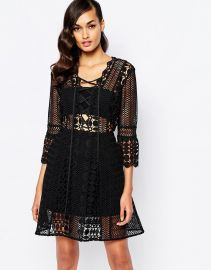 Self Portrait  Self Portrait A Line Lace Up Dress at Asos