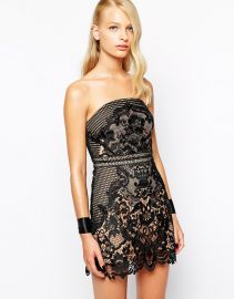 Self Portrait  Self Portrait Phantom Lace Bandeau Dress at Asos