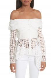 Self-Portrait Broderie Anglaise Off the Shoulder Top at Nordstrom