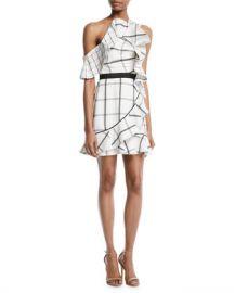Self-Portrait Check Draped Frill Mini Dress at Neiman Marcus