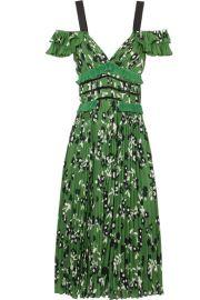 Self-Portrait Cold-shoulder lace-trimmed floral-print plisse-crepe dress at Net A Porter