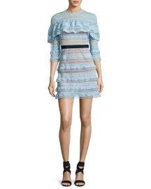 Self Portrait Grid Stripe Dress at Neiman Marcus
