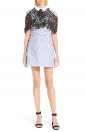 Self-Portrait Lace Cape Shirting Dress at Nordstrom