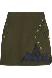 Self-Portrait Lace-paneled cotton-twill mini skirt at Net A Porter