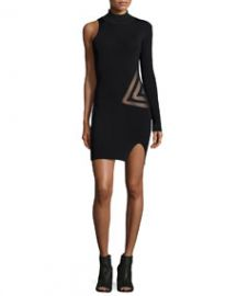 Self Portrait One-Sleeve Mesh-Trim Dress Black at Neiman Marcus