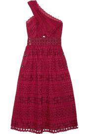 Self-Portrait One-shoulder cutout cotton-blend guipure lace midi dress at Net A Porter