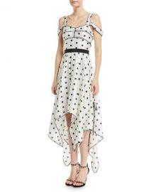 Self-Portrait Printed Star Sleeveless Handkerchief Cocktail Dress at Neiman Marcus