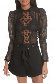 Self-Portrait Scalloped Eyelash Lace Blouse at Nordstrom