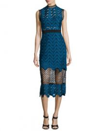 Self Portrait Scalloped Mixed-Lace Midi Dress Teal at Neiman Marcus