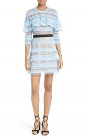 Self-Portrait Stripe Grid Lace Ruffle Dress at Nordstrom